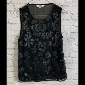 BB Dakota Black Floral Faux Leather Top XS